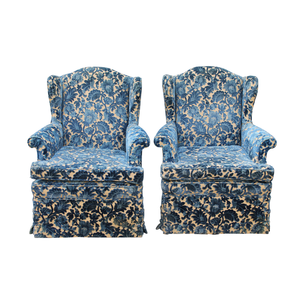 Cut Crushed Velvet Wingback Chairs - A Pair $2,100