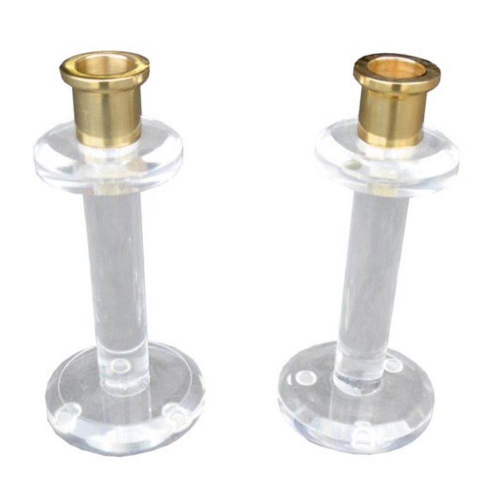 S/2 Lucite Candlesticks, Clear/Brass $99