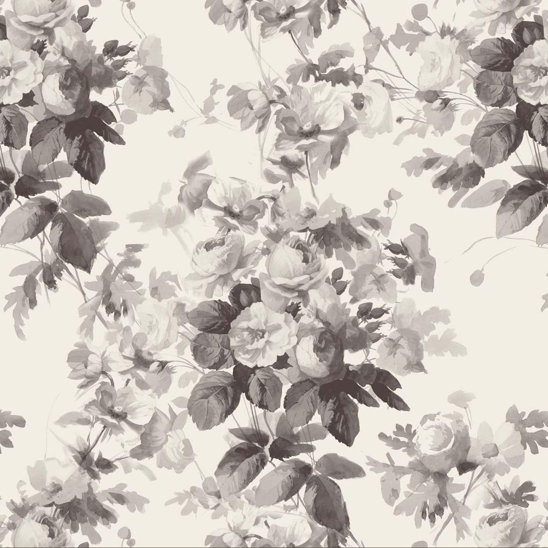 LONDON ROSE Wallpaper - Smoke Grey £85