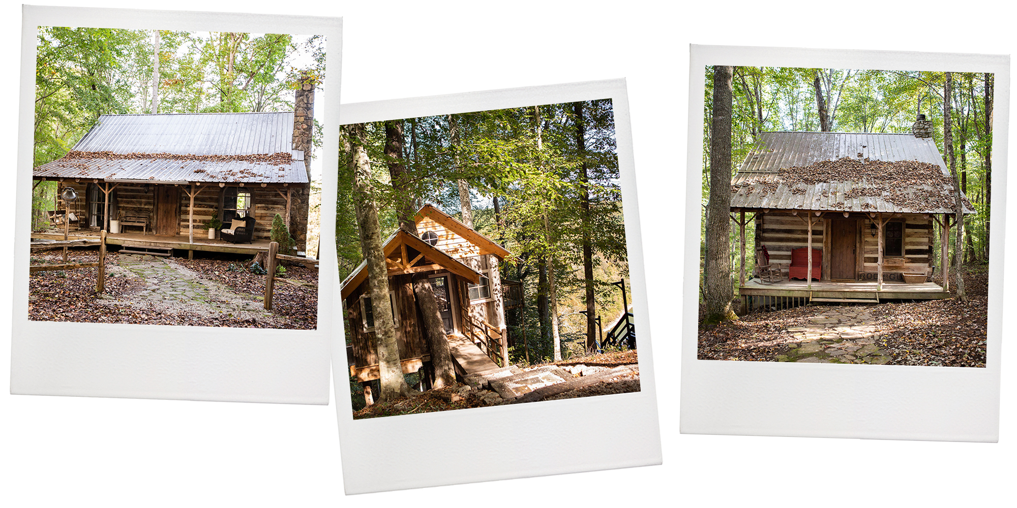 """Off the bat, I wasn't sure about a bunch of cabins in the woods on a steep hillside. But then I got charmed,"" Holly says. ""I could work on the porches. The views are incredible. Those gated, wooded 12 acres are just the most comfortable, warm, cozy. It just felt very private, very serene."""
