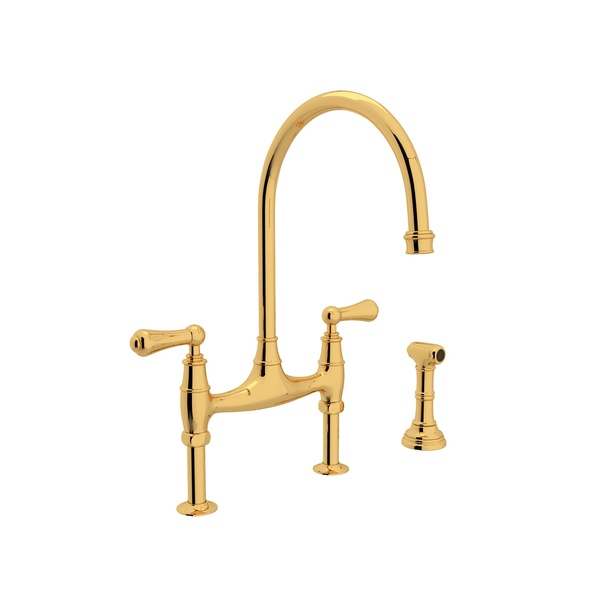 Perrin & Rowe Georgian Era Bridge Kitchen Faucet With Sidespray