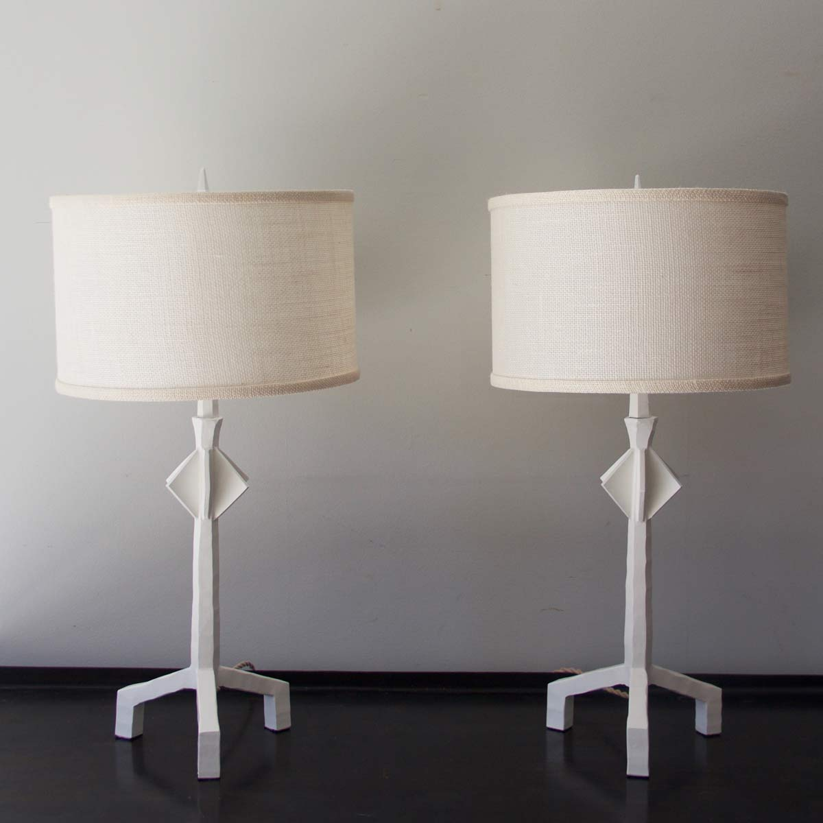 Gesso-White Painted Hand Forged Steel Etoile Style Table Lamps, each $950