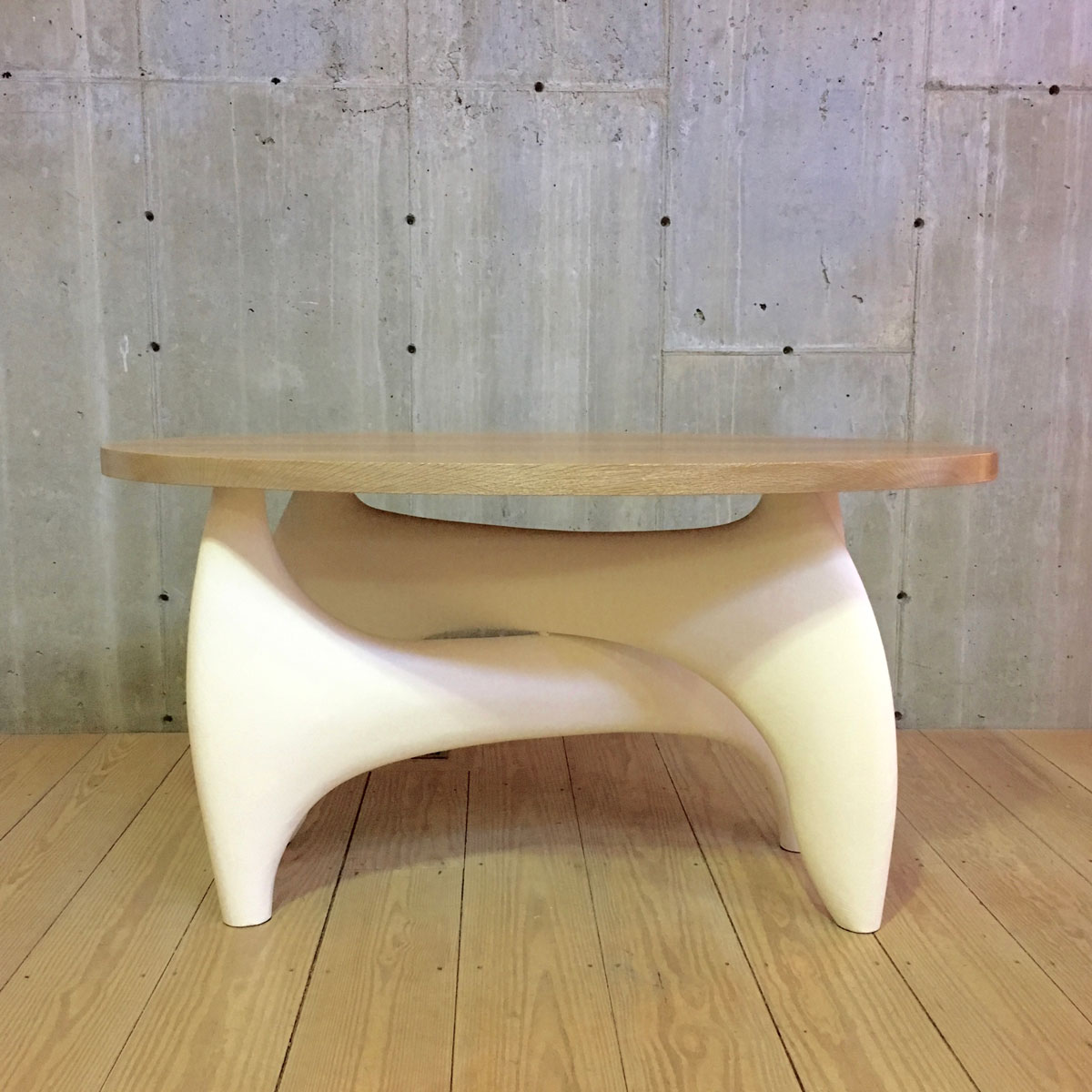 Bi Sculpteur Coffee Table Base with Gesso Finish and Oval Natural Cerused Oak Top $7,600