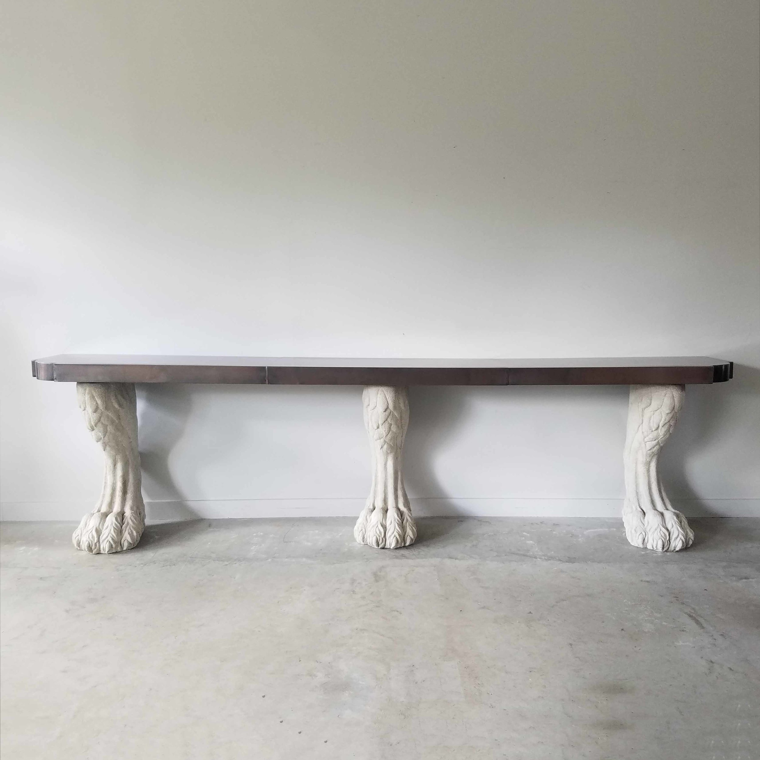 Triple Paw Foot Console Table with Darkened Copper Top and Curved Corner Details
