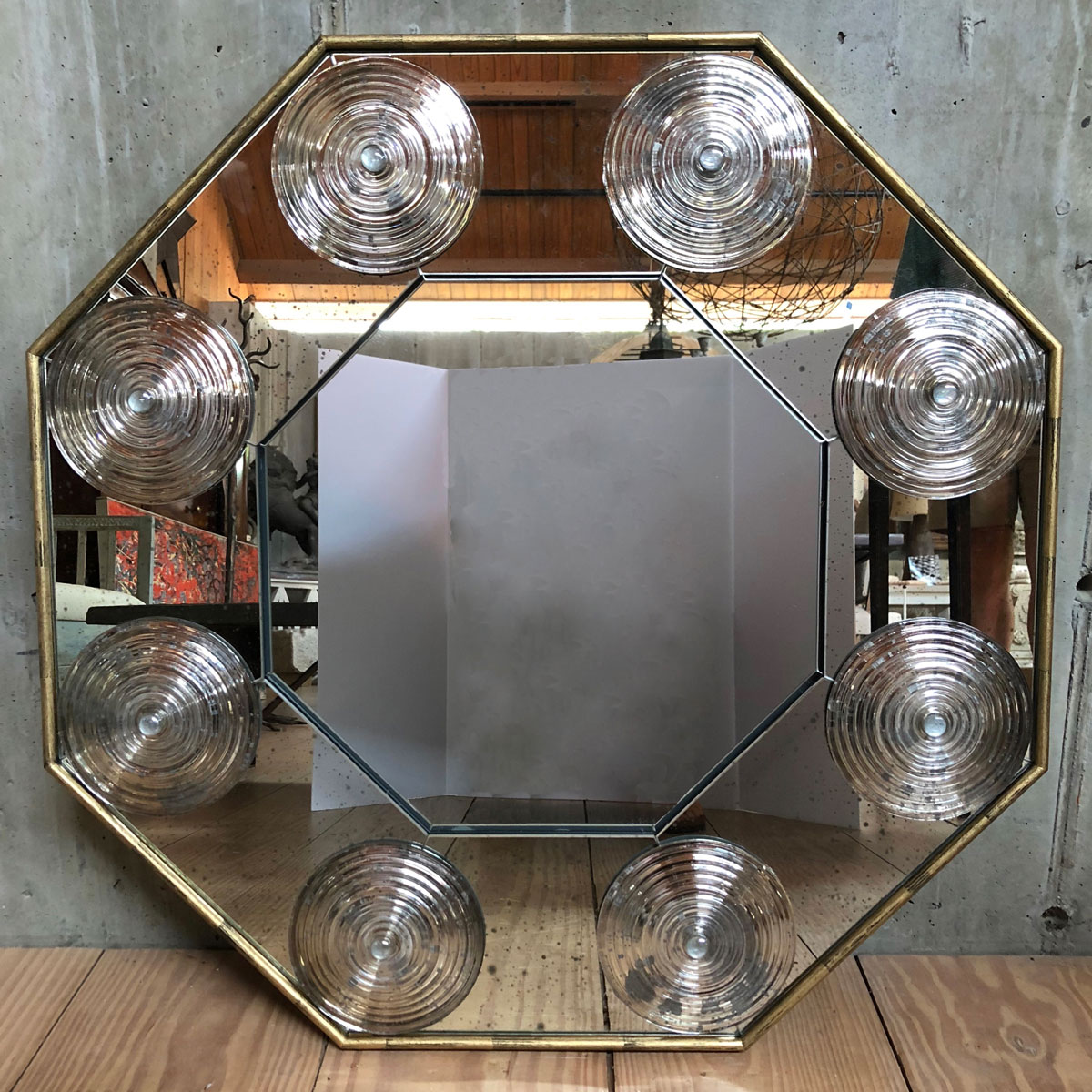 30″ Octagonal Bullseye Mirror with Gold Painted Wood Frame $2,350