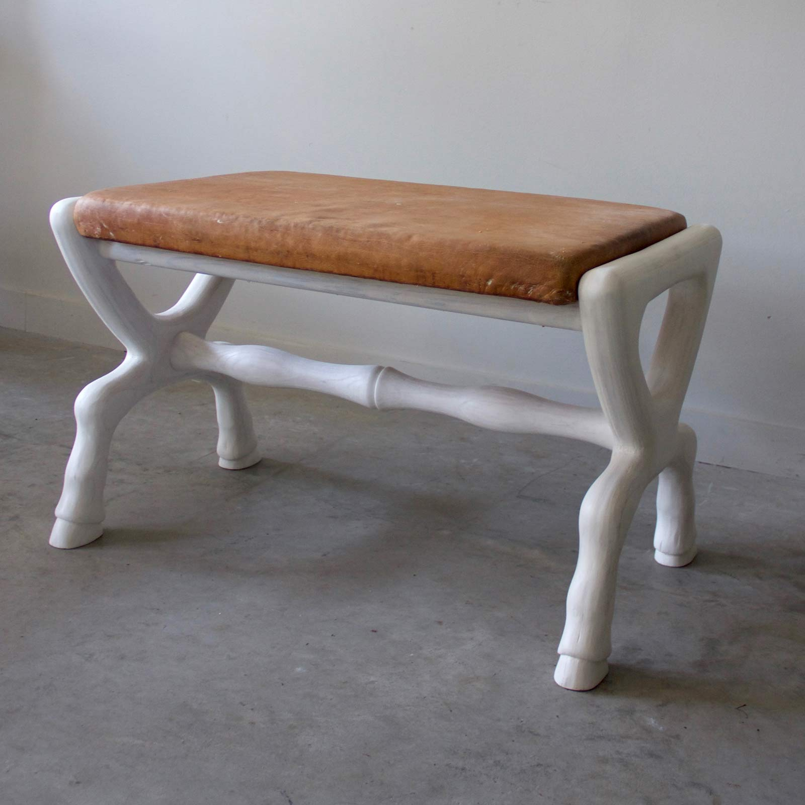 White Washed Equestrian Bench with Belgian Leather Top, $2300
