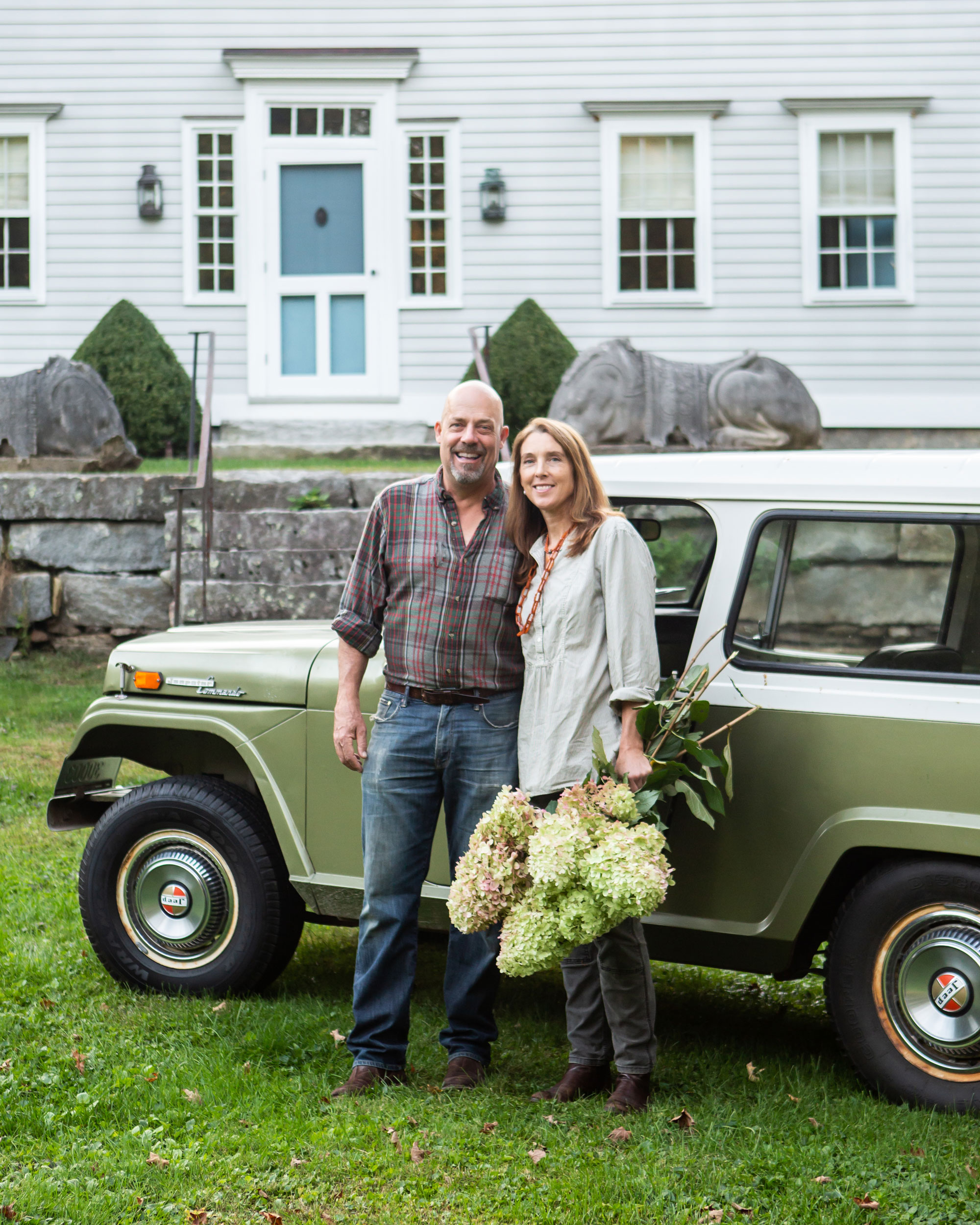 Greg and Natalie Randall outside their Litchfield County home.
