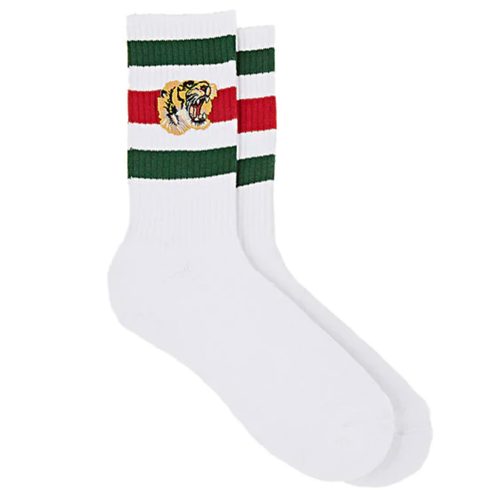 GUCCI Tiger-Appliquéd Cotton-Blend Ankle Socks $120