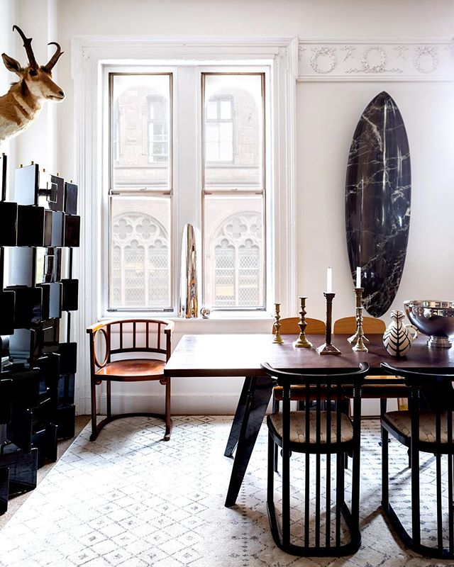 From stacks of prized design books to Josef Hoffmann chairs and an Eileen Gray folding screen—visit Marcus's New York mini-Museum at TheMaryn.com.