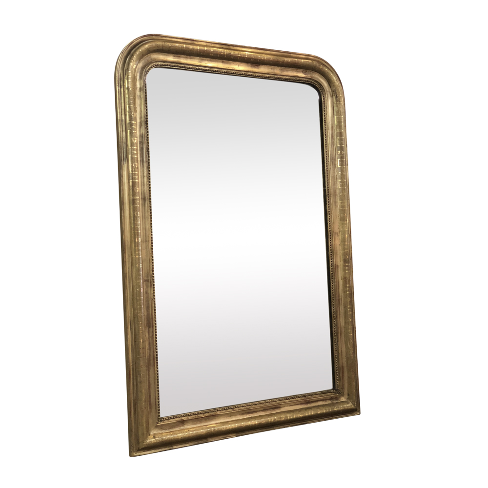 19th Century Antique French Louis Philippe Gold Leaf Mirror