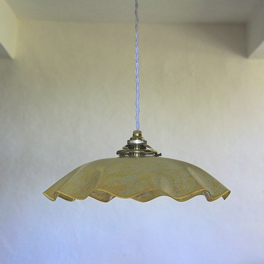 French Vintage Glass Ceiling Light $77