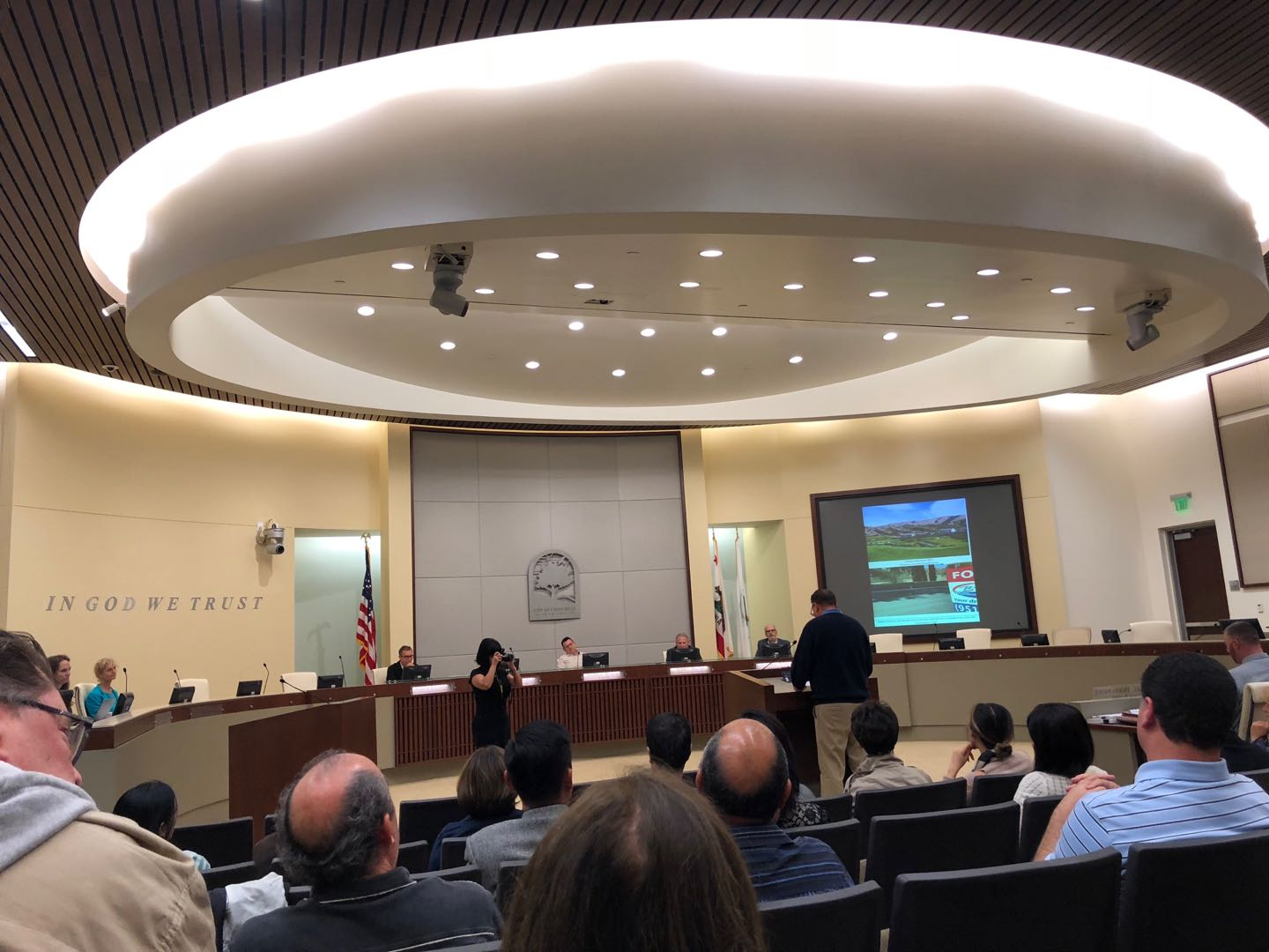 Vellano HOA President Mike Konrad addresses the Chino Hills Planning Commission about the illegal chain link fence