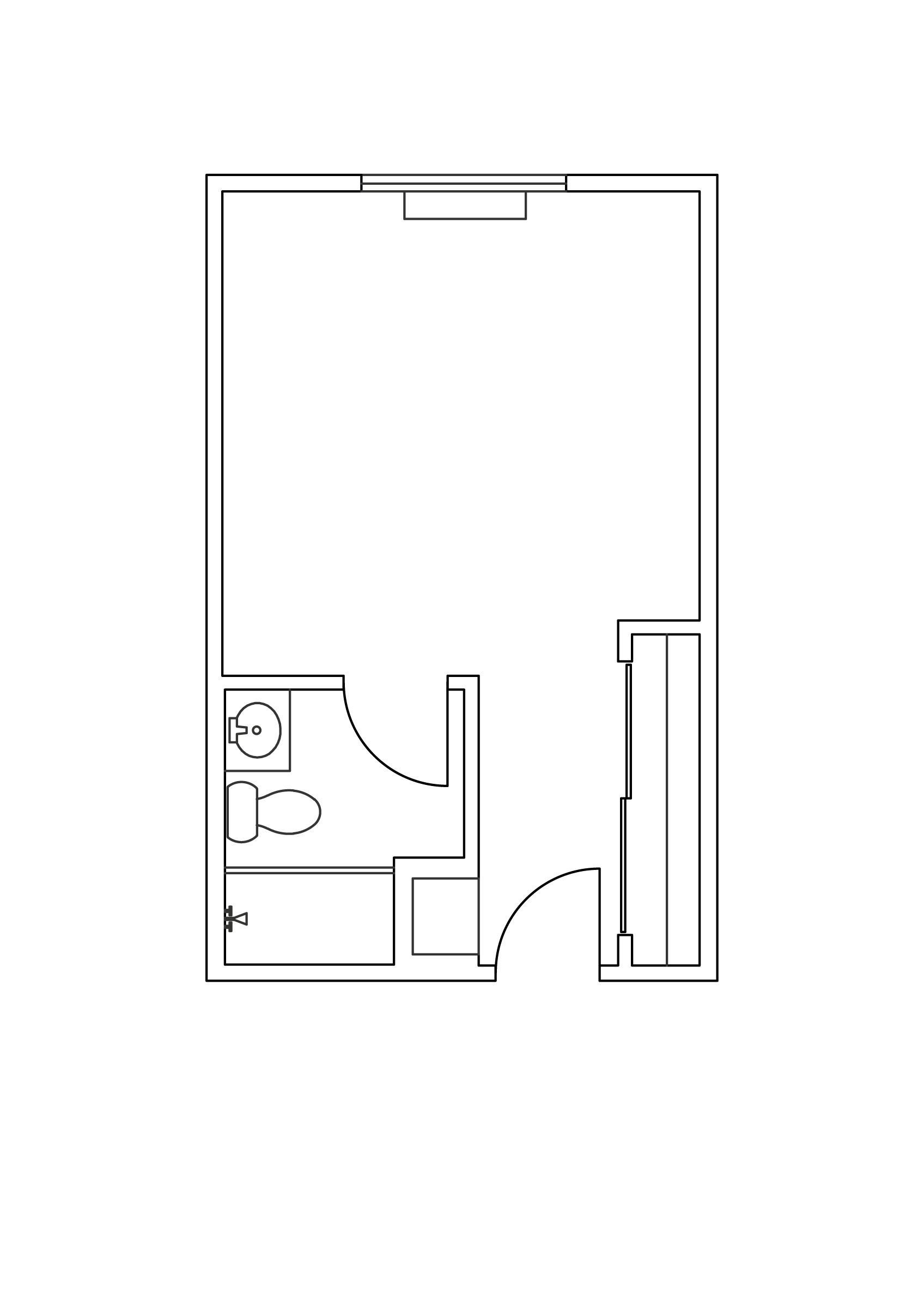 Private or semi-private floor plan.