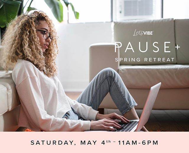 "It's time to renew and recommit to your goals 🔄  At @letsvibehq, we are ALL about shedding self-doubt and anxiousness about the ""right step"" to take in life. Let's make out next move our best move as a collective.  Join us for our PAUSE+ Retreat on Saturday, May 4th from 11am-6pm where we help you transform your mind, build authentic connections, and activate clarity on your burning goals. #letsvibe"