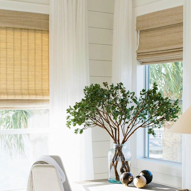 Timeless, natural shades have always been a favorite of mine.  Especially in a relaxed beach house. #home #interiordesign #summer #shades #windowtreatments