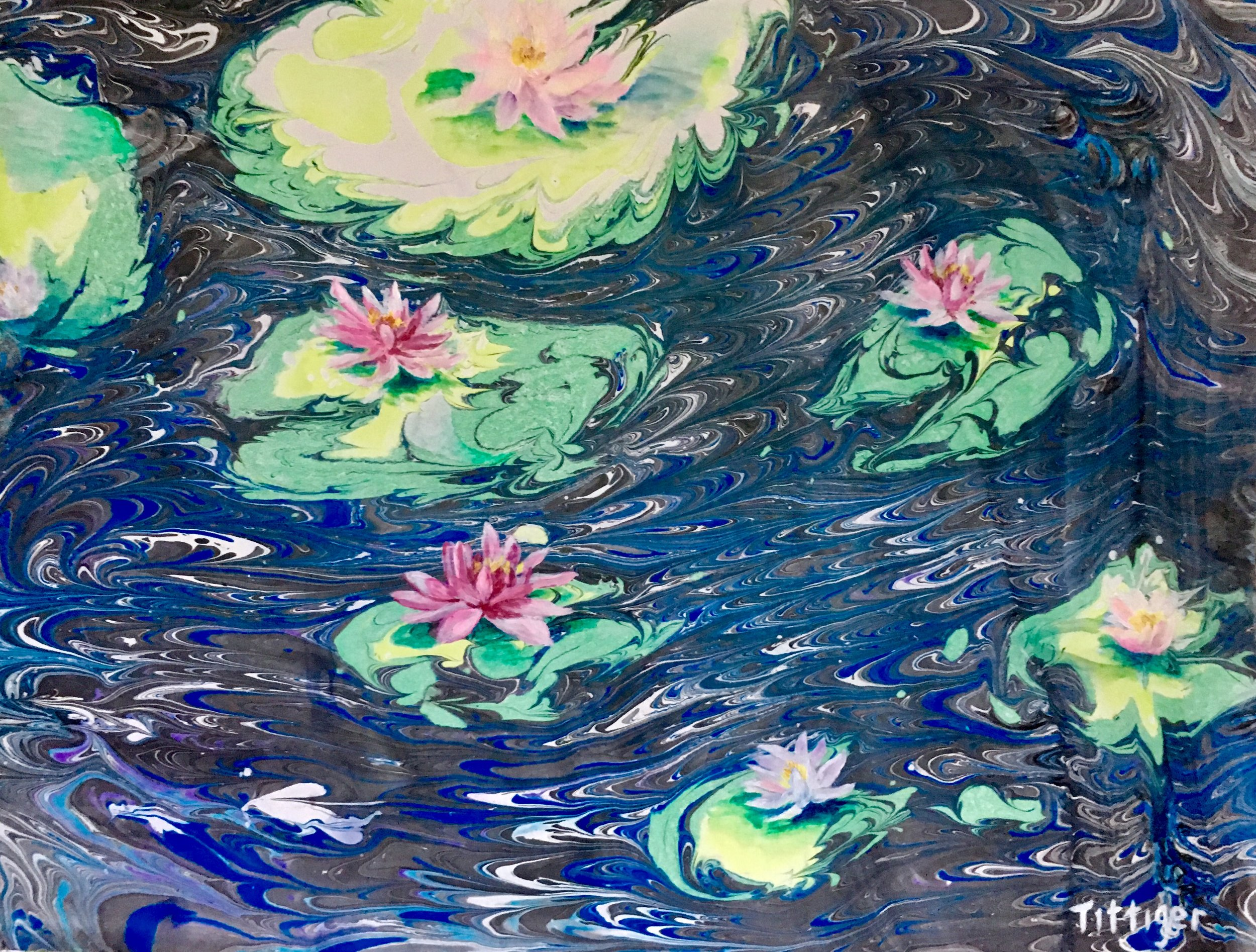 WATER LILIES    This reminds me of a Monet. The background and lily pads are marbling and the flowers are painted over the marbling 18 x 24.