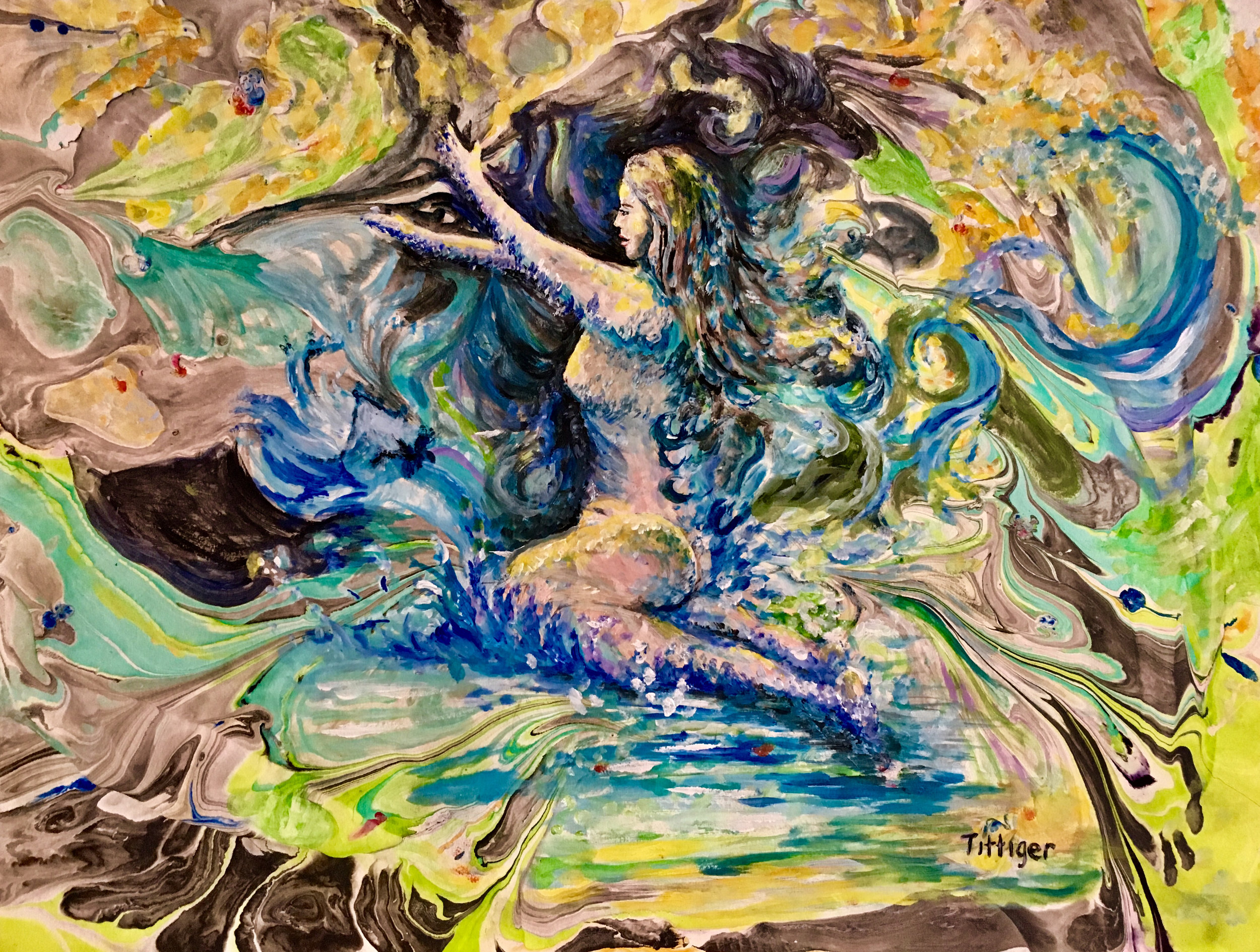 ESSENCE OF LIFE    This is an 18 x 24 marbling with a painting of a woman emerging from the water.