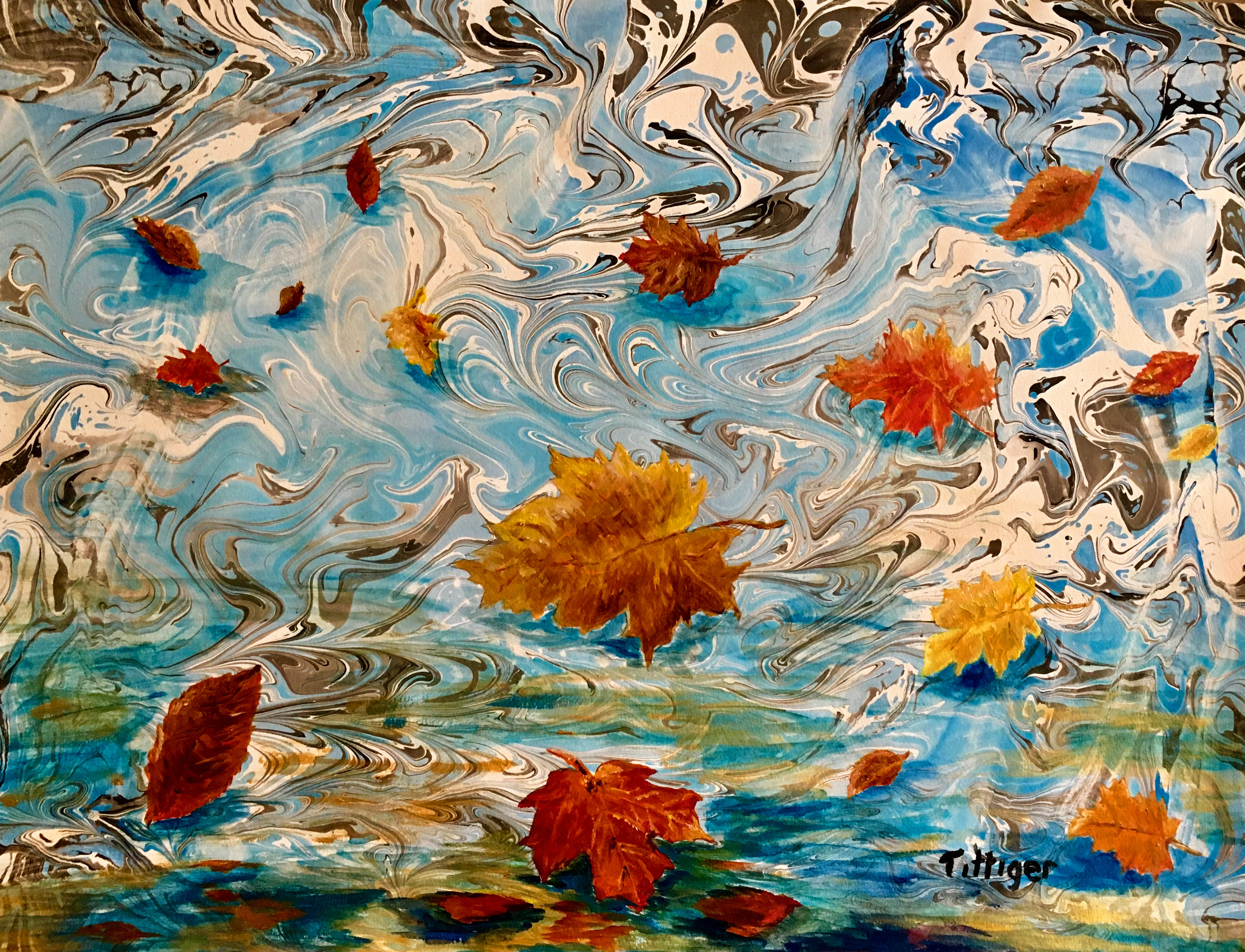 FALLING LEAVES    This is an acrylic marbling/painting. The blues and oranges compliment each other.