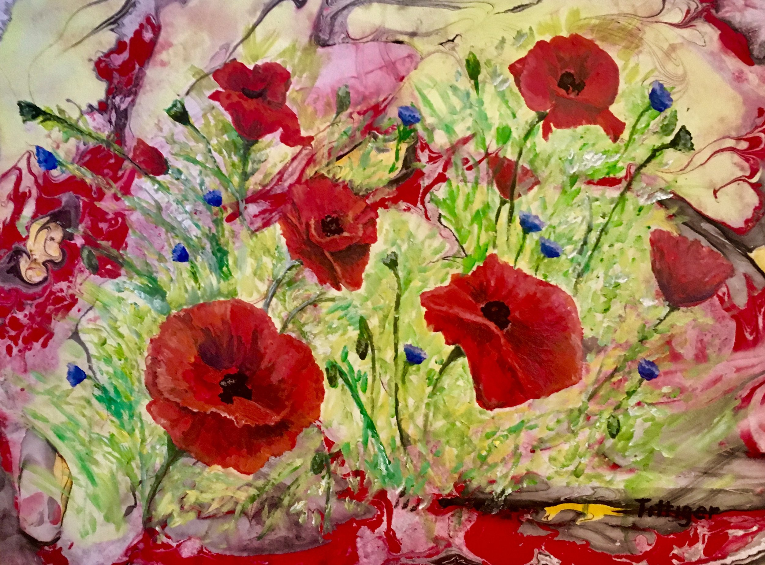 POPPY FIELD    This is an 18 x 24 acrylic marbling with a painting over top. The poppies and bachelor buttons are whimsical.  This painting will be at the Northland Public Library, Pittsburgh, PA from 6/1/19 - 8/26/19