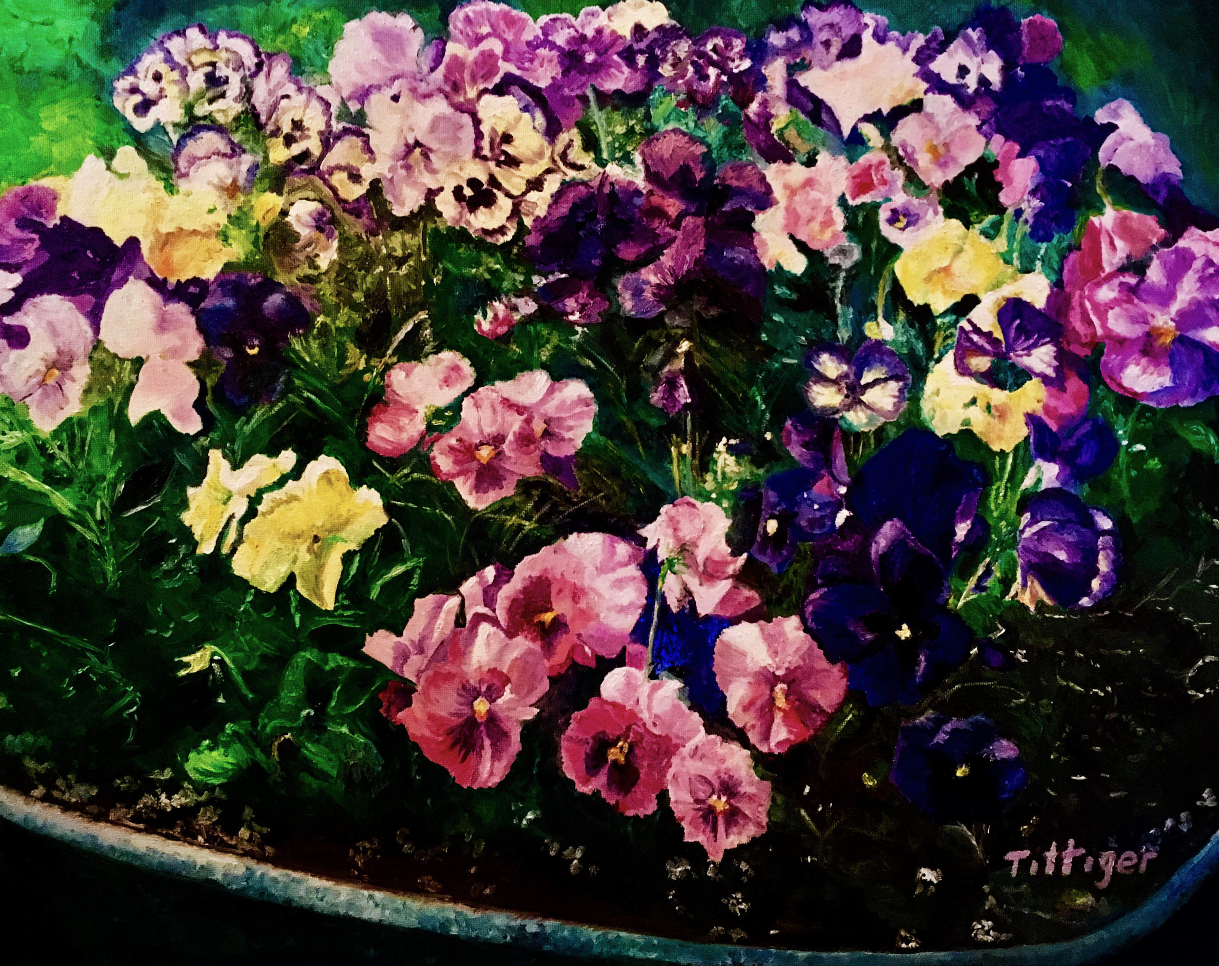 PRETTY PANSIES   This is an Oil Painting of Pansies. The pieces is framed with a very ornate frame. This painting is NFS but prints are available.