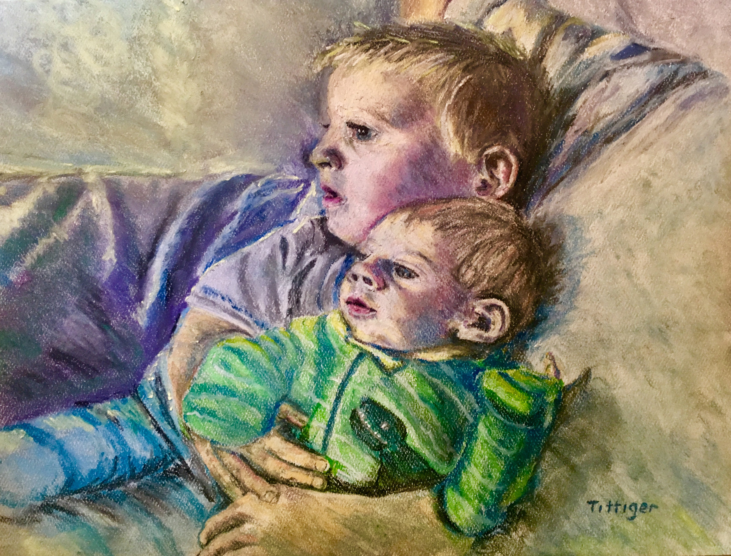 LOGAN AND MICAH   This is a beautiful pastel I painted of my grandsons. I do these paintings by commission.