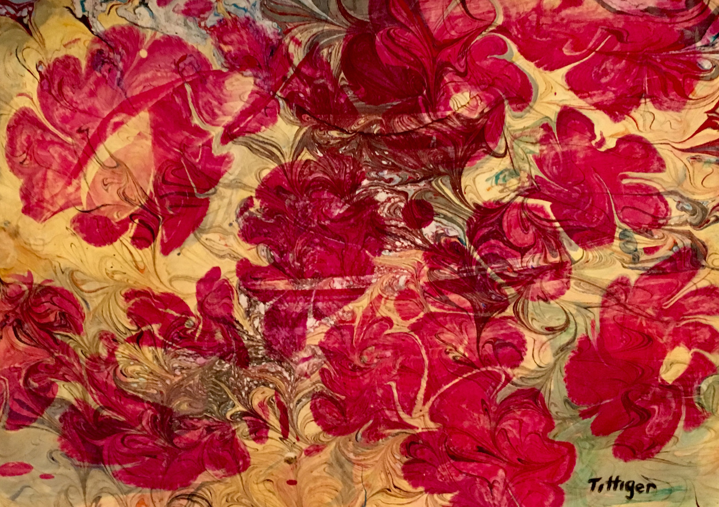 CRIMSON      This is an 11 x 15 acrylic marbling that is of crimson flowers.