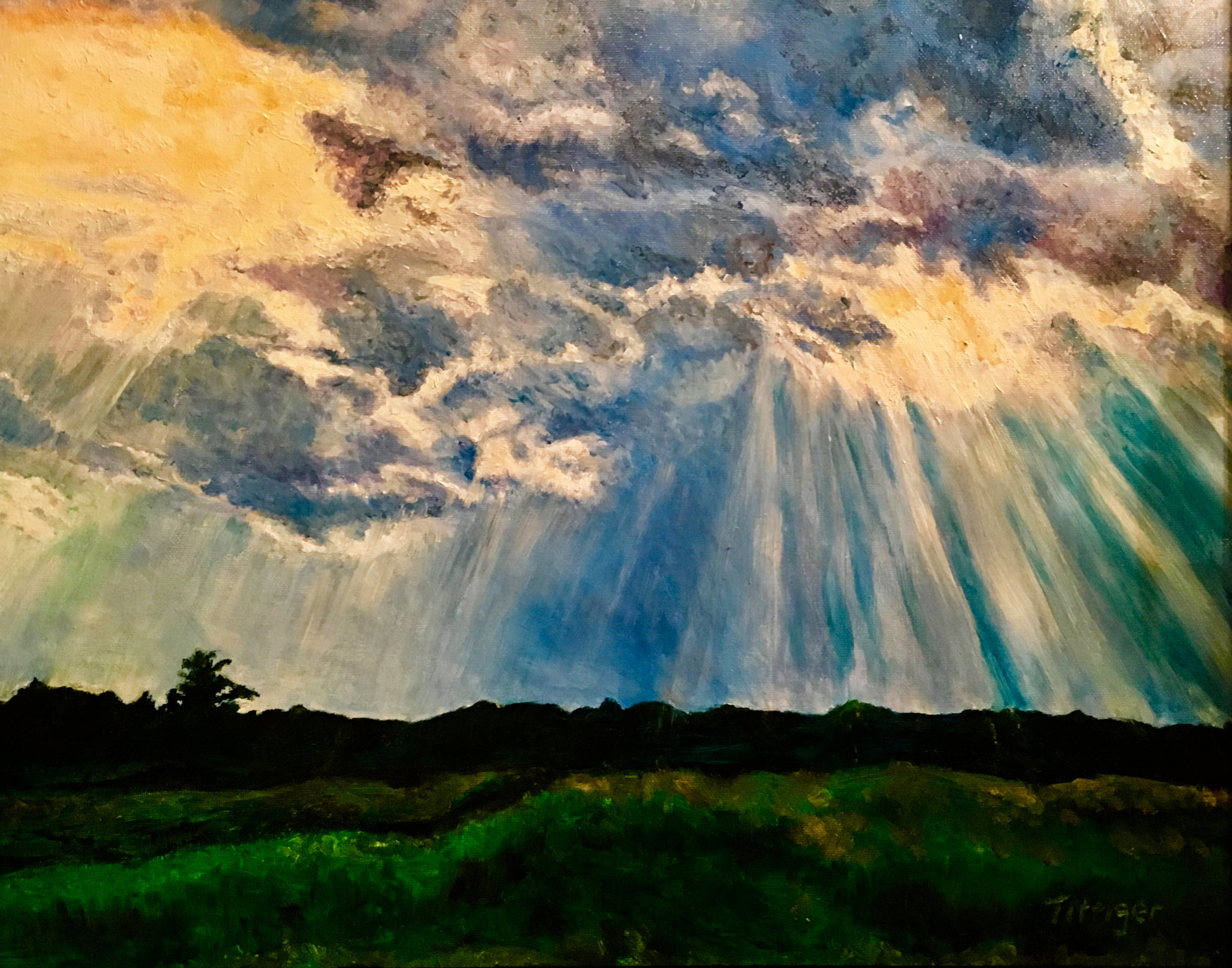 BRILLIANCE    This a picture of the sky during a storm. The scene is over our pond at my childhood home.