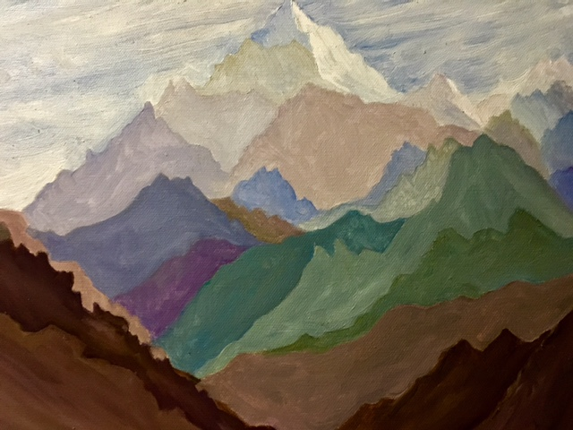 MAJESTY    This is an oil painting of a mountain series that I completed. The colors are all layered but blend together. This is framed.