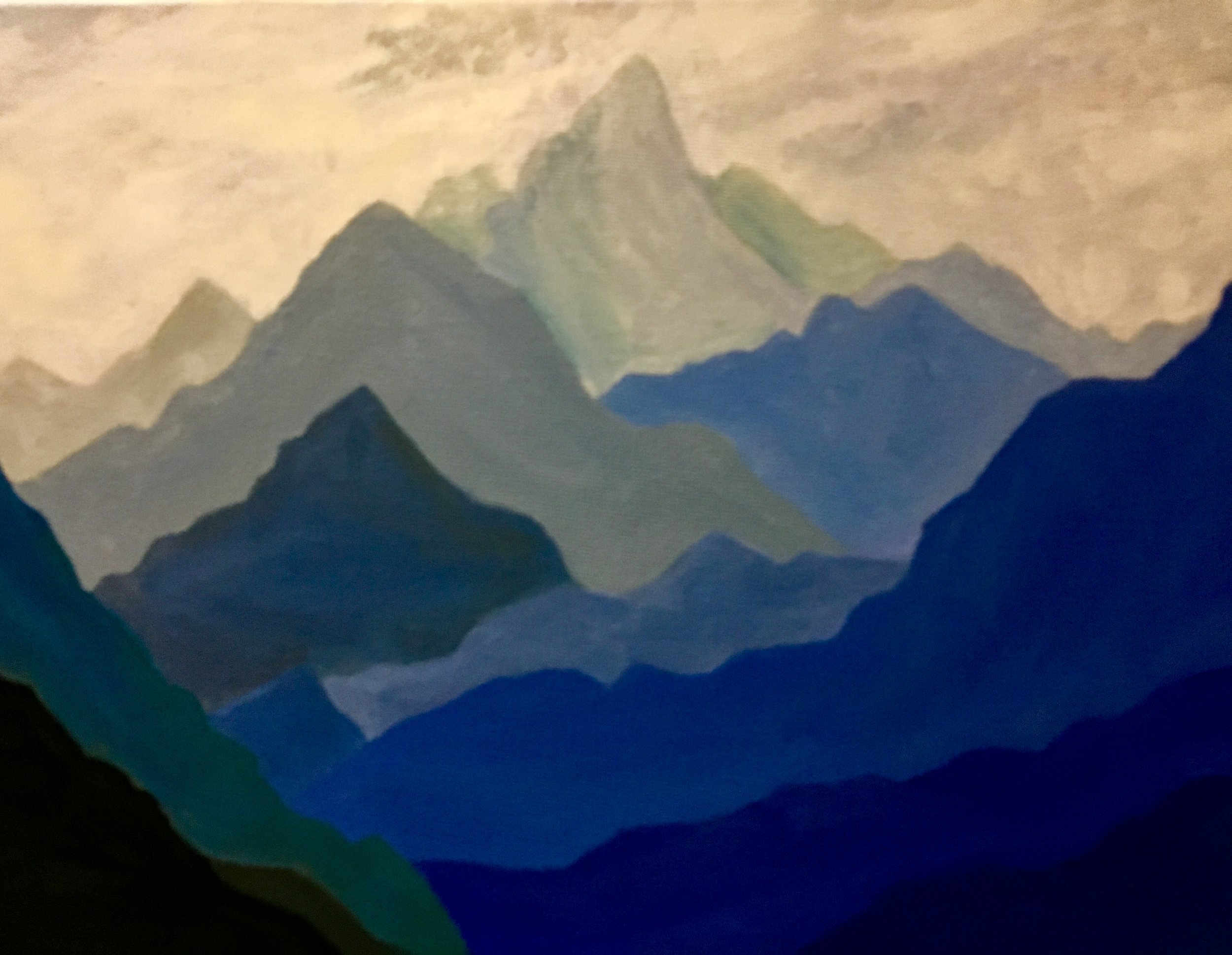 AZURE    Is a beautiful shades of blue mountain completed in Oil. It is part of the series.  This painting will be at the Northland Public Library, Pittsburgh, PA from 6/1/19 - 8/26/19