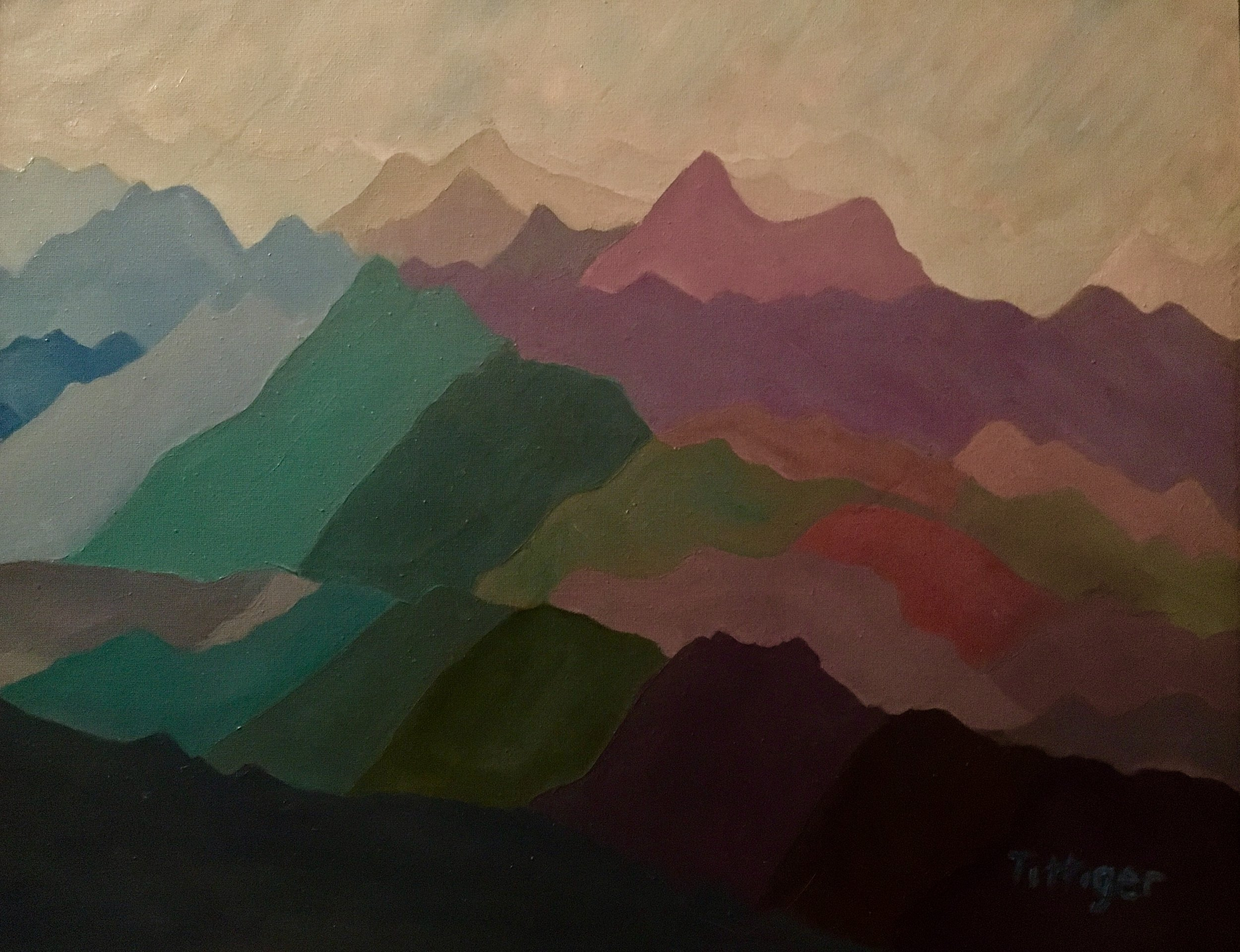 RHAPSODY    This is part of my mountain series. Beautiful shades of color to form the mountains.