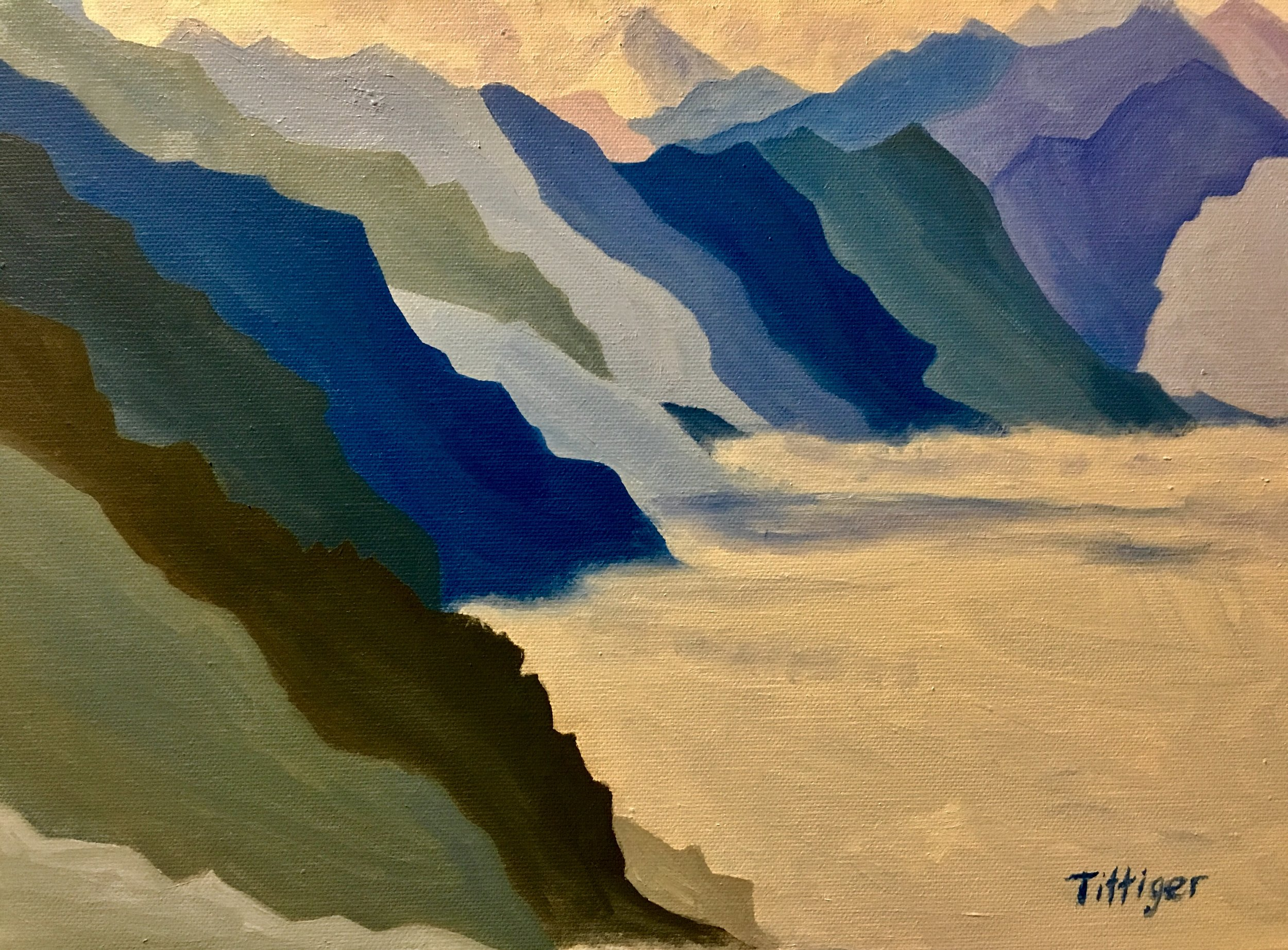 SERENITY    This is part of my mountain series. Beautiful shades of blue to create the mountain range.