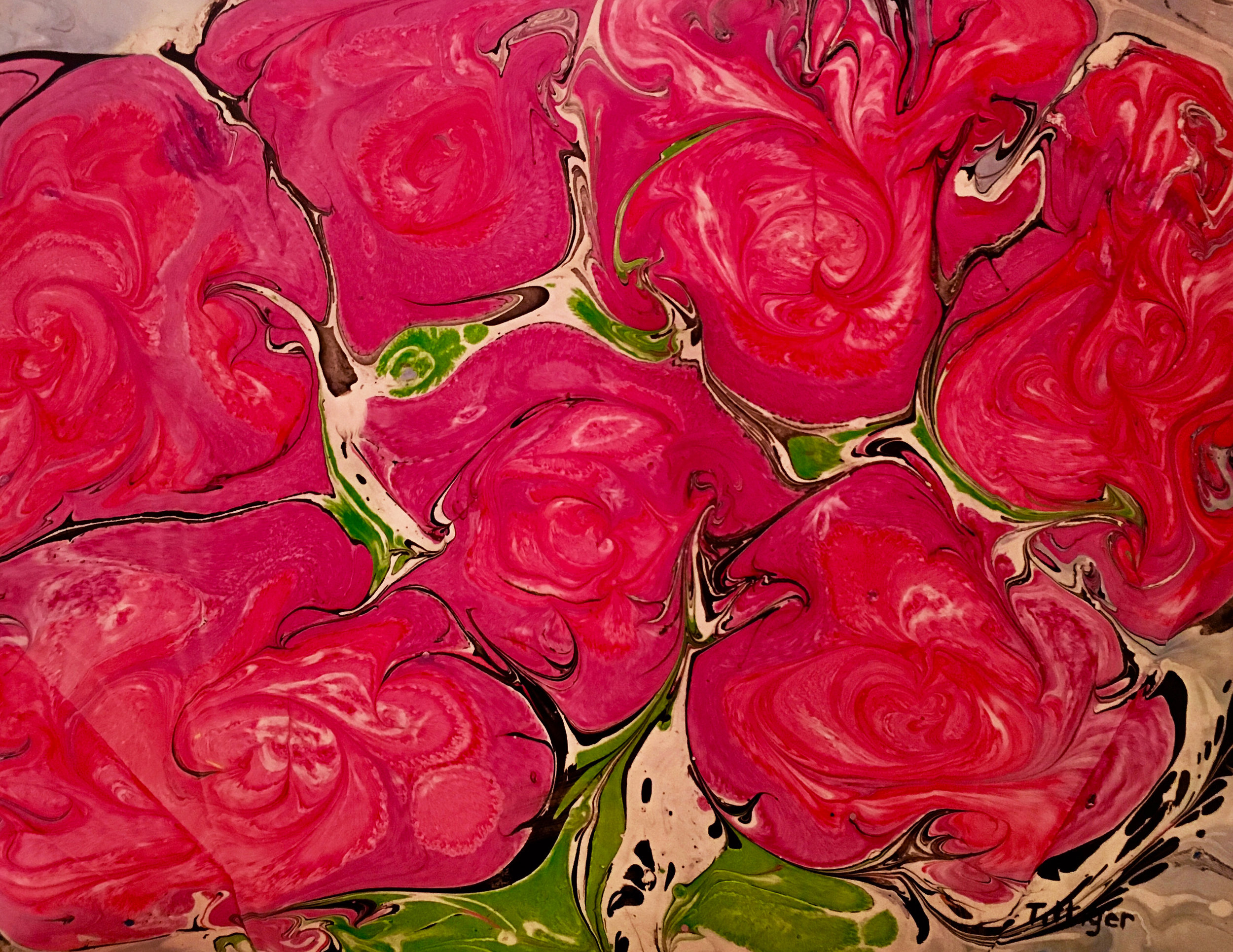 ROSES ROSES    This is an 16 x 20 acrylic ink marbling. It reminds of the roses outside of my childhood home.