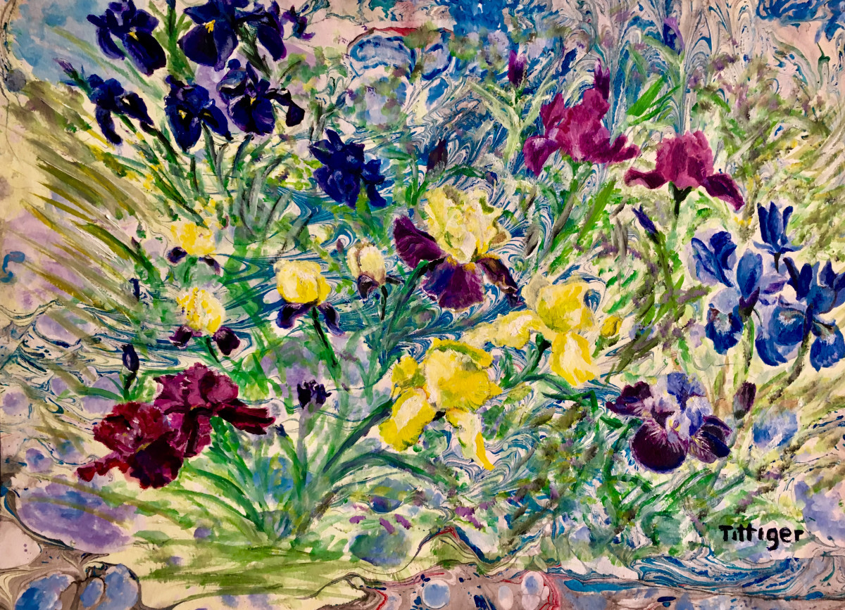 IRIS FIELD    This is an 18 x 14 acrylic marbling with a painting over lay. My father always loved irises.
