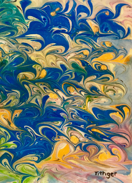 WAVES    2   This is a 12 x 9 acrylic marbling with vibrant blues.