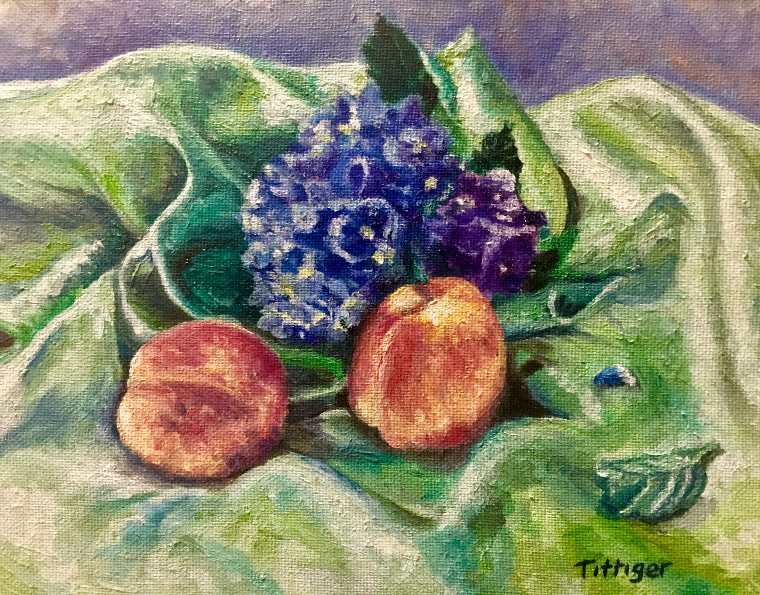 SATIN AND PEACHES    This is an 8 x 10 still life oil painting. I like how the colors compliment each other.