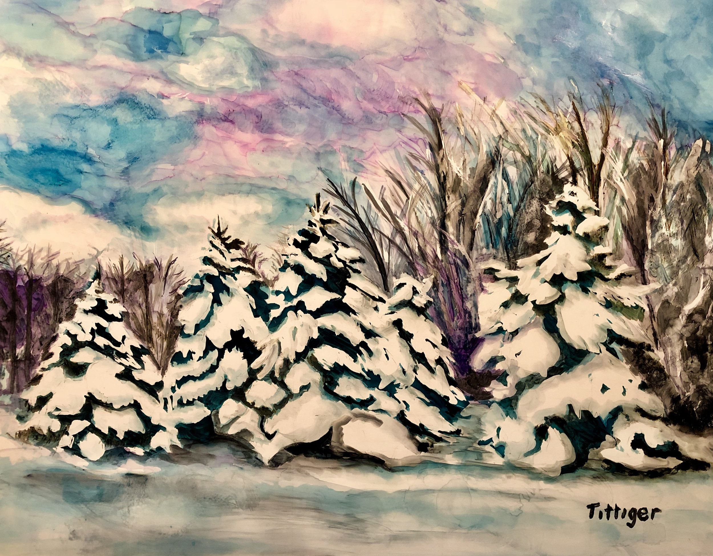 WINTER'S PEACE    This is an 11 x 14 alcohol ink painting. My father planted these trees. It brings back many memories. You can find this painting at the Holiday Mart at the Cranberry Municipal Bldg. until December 18th.