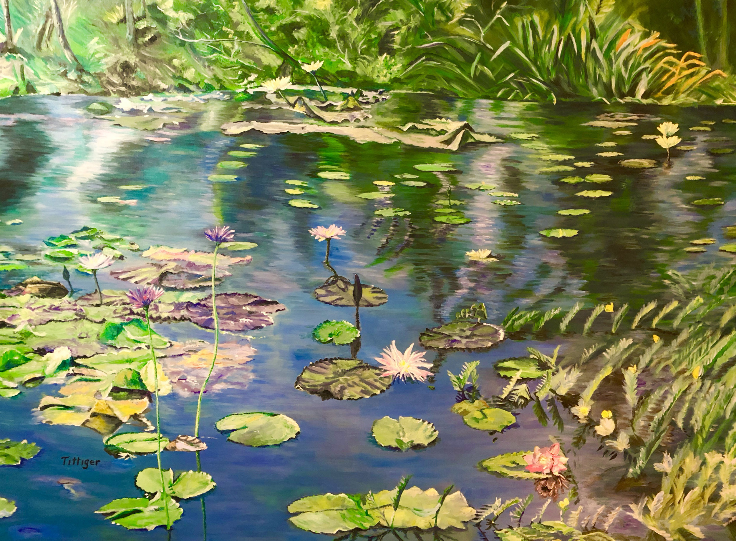 HARMONY    This is an acrylic painting on canvas. The painting extends around the sides so it is not framed. This painting is 3 x 4 feet. It is of the botanical gardens in Naples, Florida. It was a magical visit to this place. Very serene and peaceful.