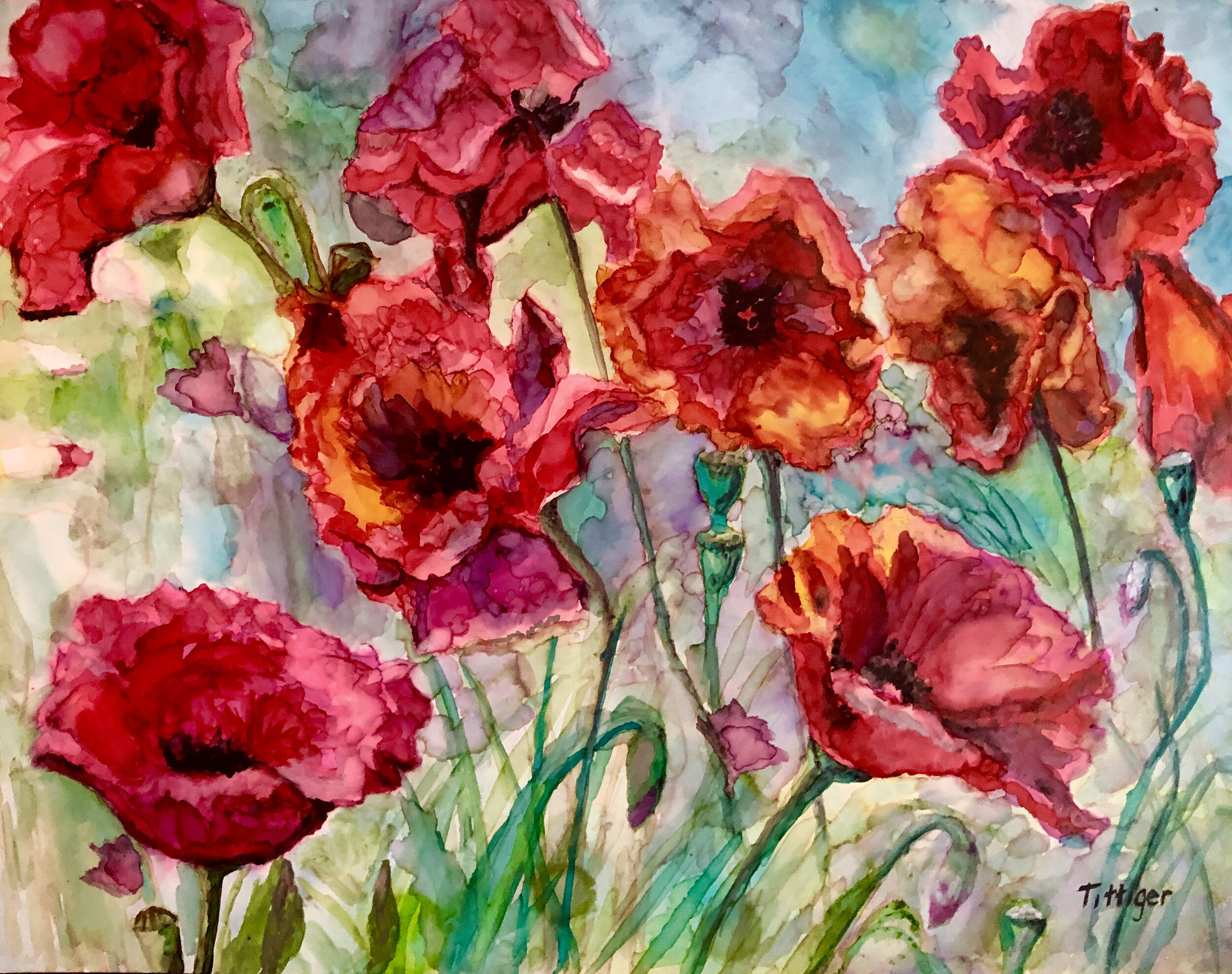 BEAUTIFUL POPPIES    This is a gorgeous painting of poppies in alcohol ink.