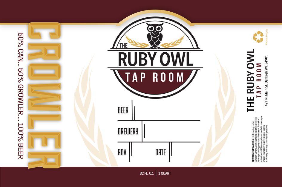 Ruby Owl Tap Room Crowler Label