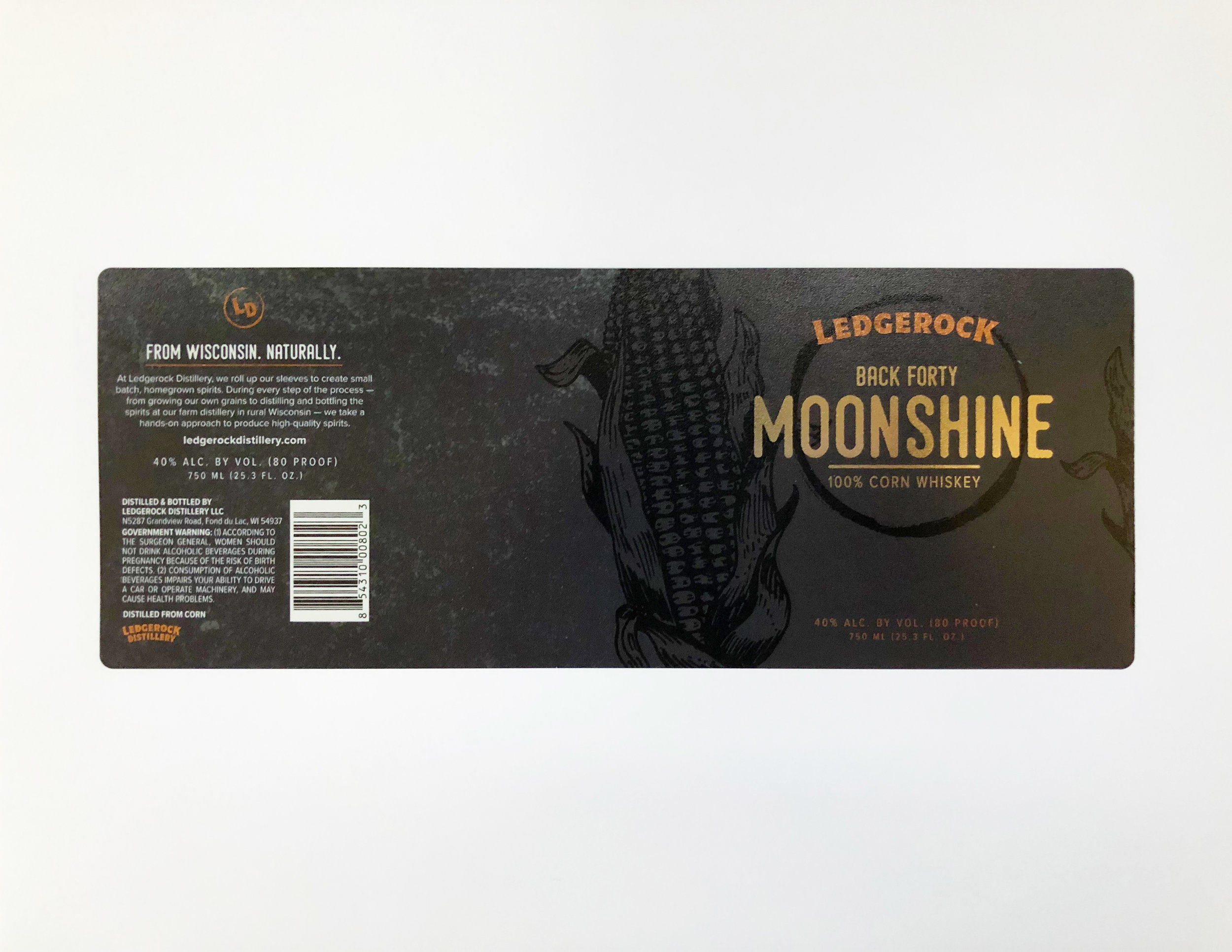 This Ledgerock Distillery Moonshine label is digitally produced with the Color Logic metallic color process.