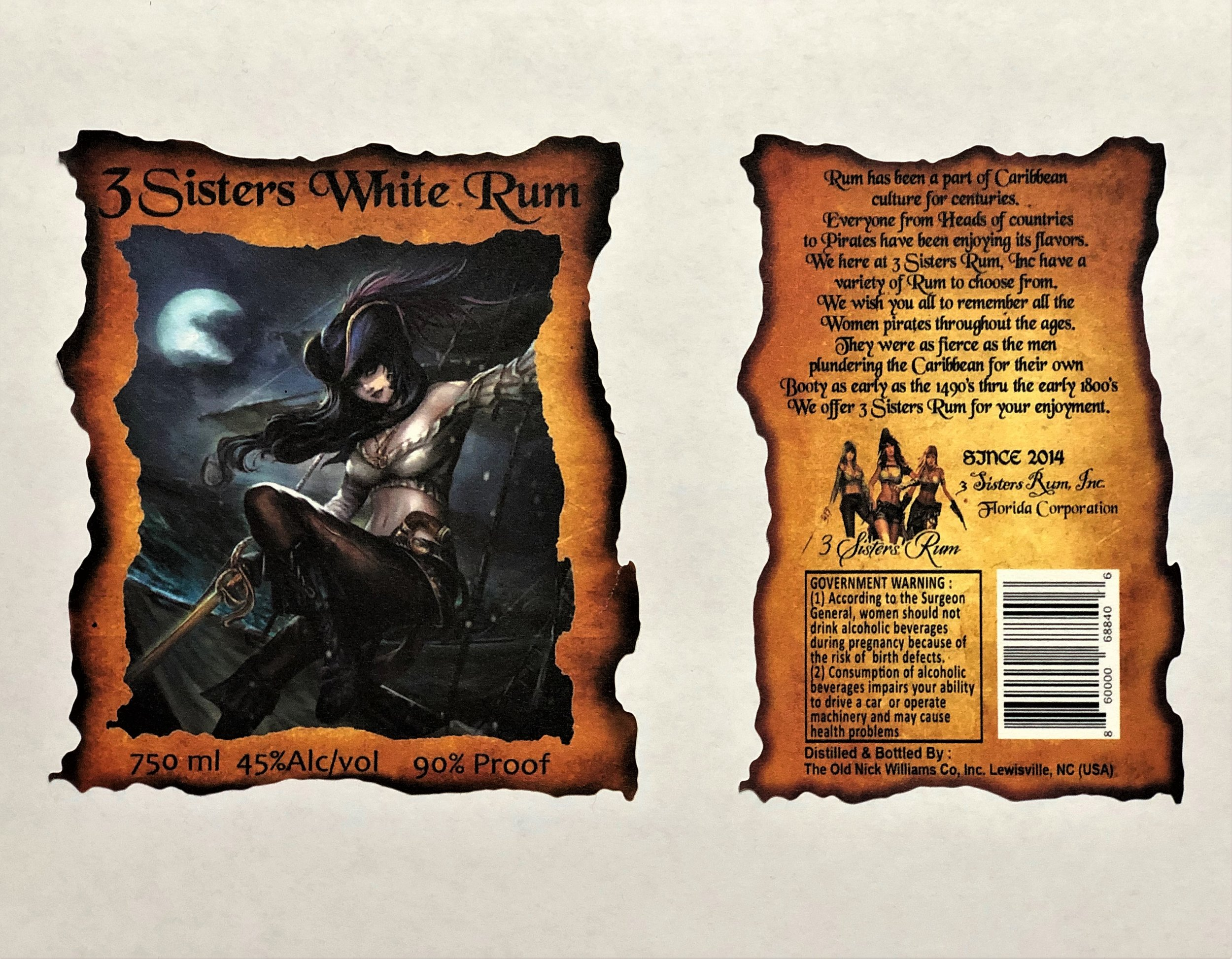 3 Sisters White Rum Label