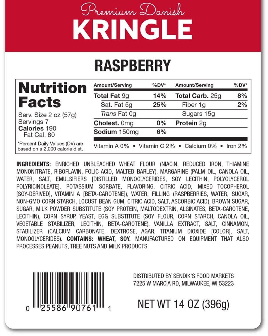 Kringle Label with Barcode and Variable Imprinted Data