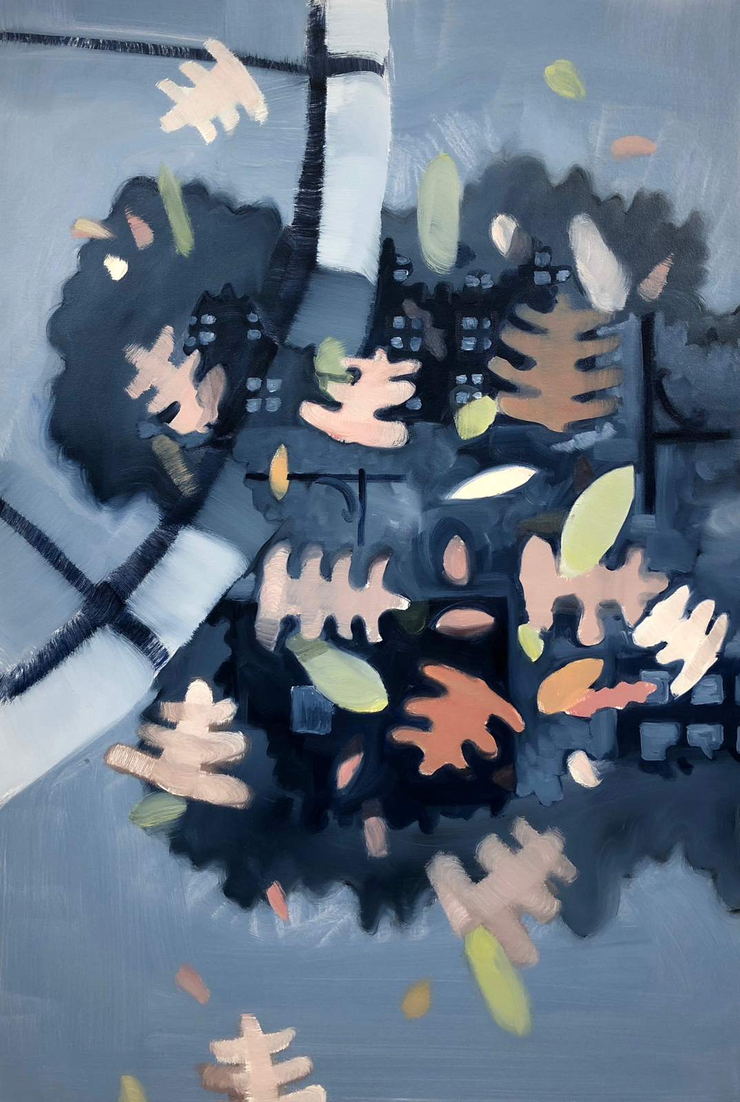 Leaf puddle city - 2018 oil on canvas 36x25inch