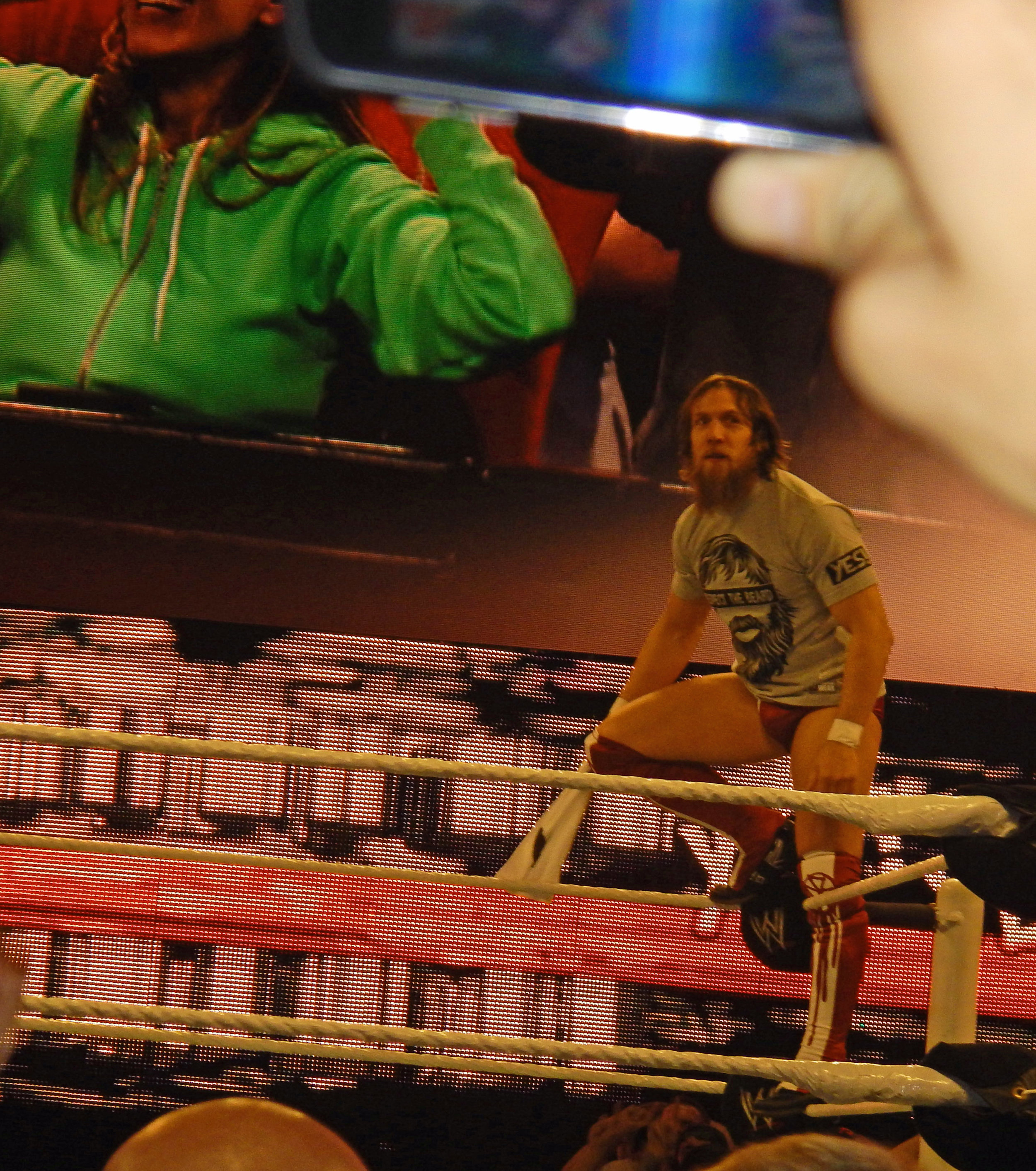 Daniel Bryan poses for the fans during WWE Monday Night Raw at Allstate Arena in suburban Chicago in September 2013. (Photo by Mike Pankow)