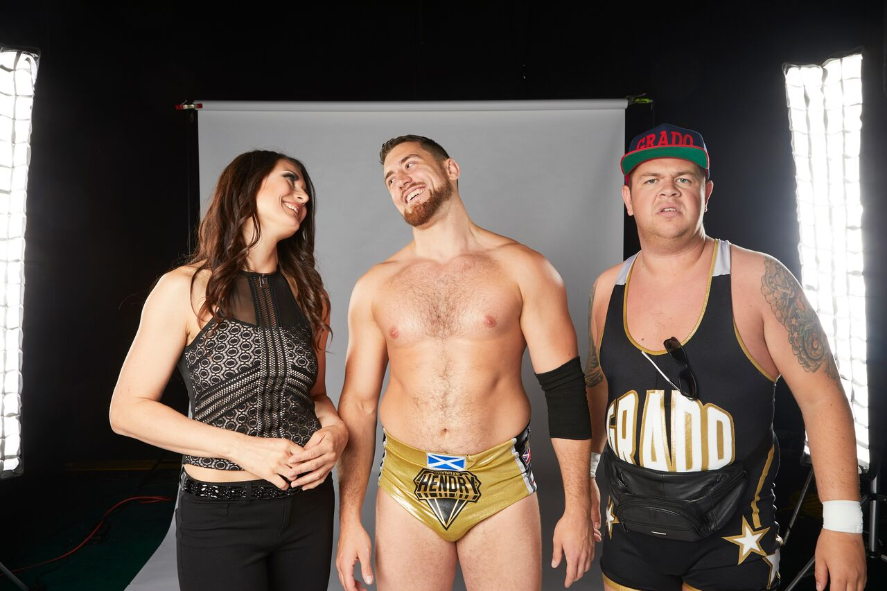Joe Hendry, center, along with Katarina, left, and Grado are aligned together in IMPACT Wrestling  (Photo courtesy of IMPACTWrestling.com)