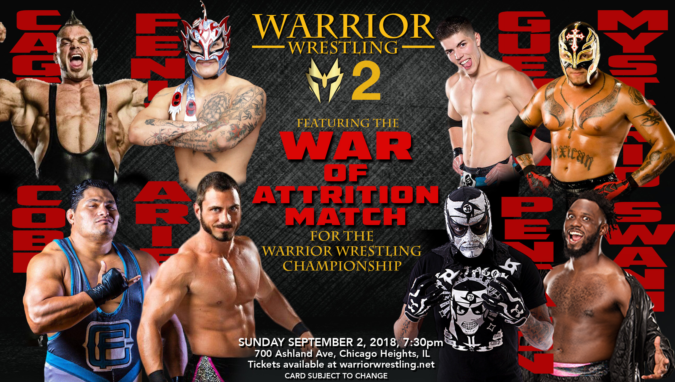 The main event of Warrior Wrestling 2 features the War of Attrition Match featuring Brian Cage (from top left, clockwise), Fenix, Sammy Guevara, Rey Mysterio, Rich Swann, Pentagon Jr., Austin Aries and Jeff Cobb.  (Photo courtesy of Warrior Wrestling)