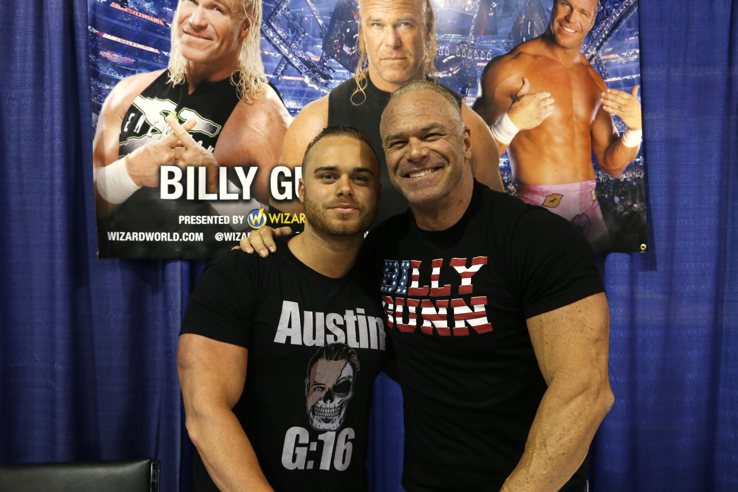 Former WWE superstar Billy Gunn, right, with his son Austin during their appearance at Wizard World Chicago at Donald E. Stephens Convention Center in Rosemont, Ill. on Friday, August 24, 2018.  (Photo by Mike Pankow)