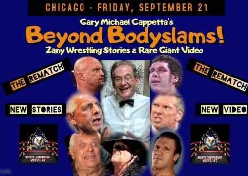 Famous ring announcer Gary Michael Cappetta, center, will host his Beyond Bodyslams show at Berwyn Eagles Club on Friday night and will be a special guest ring announcer at Berwyn Championship Wrestling on Saturday night.  (Photo courtesy of https://www.facebook.com/GMC4Real/)