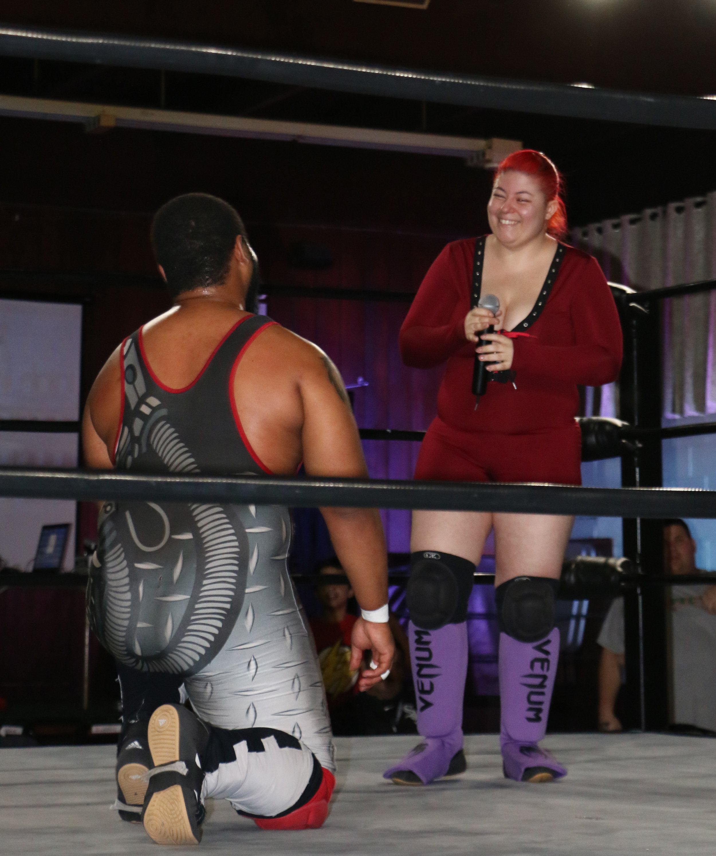 """Mike Strong of """"The Empire"""" proposes to his longtime girlfriend, Vega Venum, after his match at Berwyn Championship Wrestling's show at the Berwyn Eagles Club on Saturday, Sept. 22, 2018.  (Photo by Mike Pankow)"""