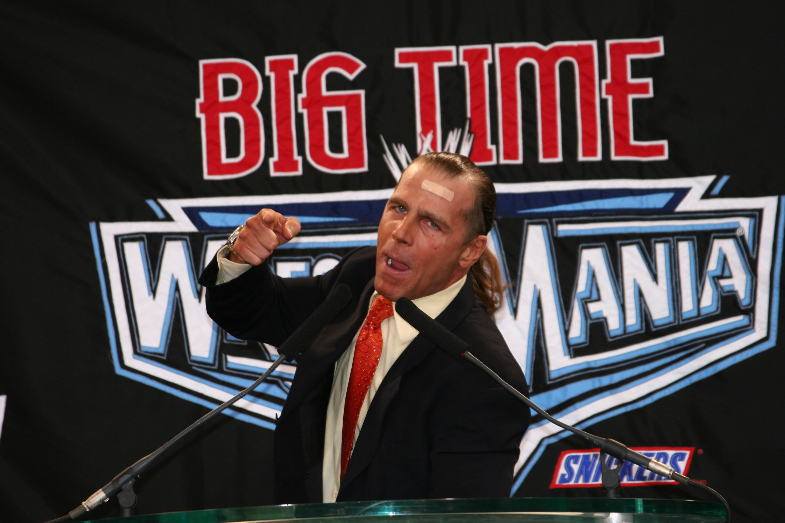 WWE Hall of Famer Shawn Michaels speaks during the WrestleMania 22 press conference at the Chicago Theatre in March 2006. Michaels will be in the corner of Triple H at this weekend's WWE Super Show-Down in Melbourne, Australia.  (Photo by Mike Pankow)
